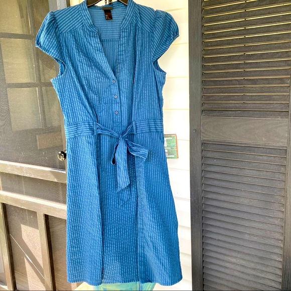 H&M Striped Denim Dress Cap Sleeves Tie Front